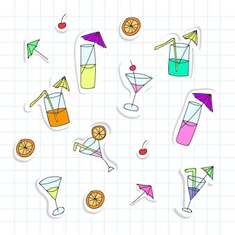 Ensemble d'illustration vectorielle de cocktails dans un style doodle