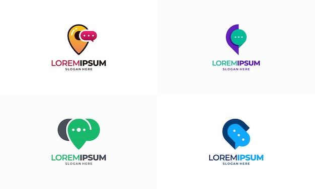 Ensemble d'illustration vectorielle de concept de conception de logo de point de discussion, icône de symbole de modèle de conception de logo de consultation