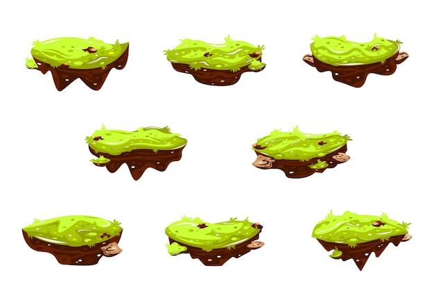 Ensemble d'illustration vectorielle de dessin animé île flottante