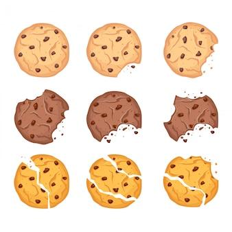 Ensemble d'illustration vectorielle de différentes formes de biscuits à l'avoine, au chocolat et au blé avec des gouttes de chocolat et des miettes