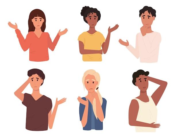 Ensemble d'illustration vectorielle de différentes personnes réfléchies. collection de divers hommes et femmes pensant ou prenant une décision en style cartoon. émotions de surprise et de perplexité