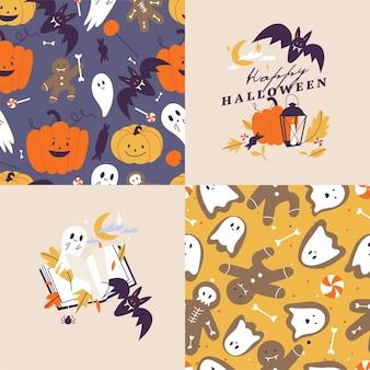 Ensemble d'illustration vectorielle d'icônes linéaires pour happy halloween. trick or treat symbole. arrière-plan ou modèle sans couture.