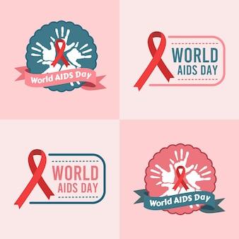 Ensemble d'illustration vectorielle de logo de la journée mondiale du sida contre le vih sur fond rose
