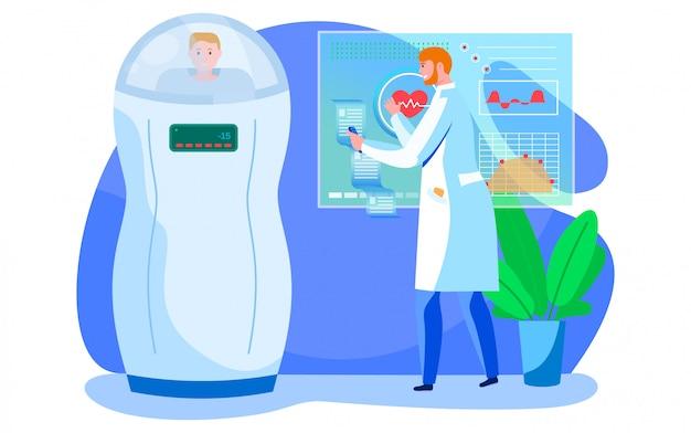 Ensemble d'illustration vectorielle de médecine numérique, soins de santé médicaux de dessin animé avec consultation de médecin d'application, technologie moderne isolé sur blanc