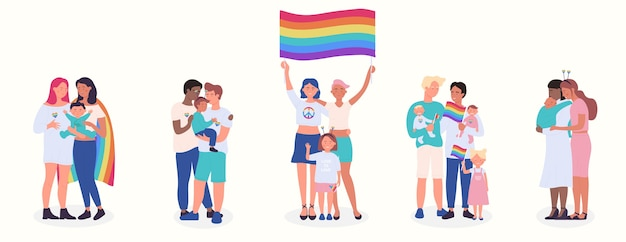 Ensemble d'illustration vectorielle plat famille lgbt