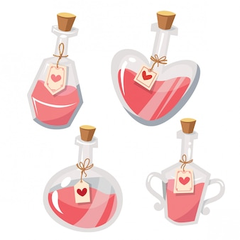 Ensemble d'illustration vectorielle potion d'amour