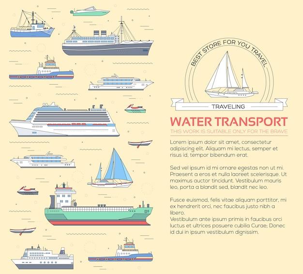 Ensemble d'illustration de yacht plat