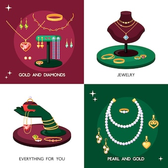 Ensemble d'illustrations d'accessoires de bijoux. bijoux coûteux faits d'or et de pierres précieuses colliers avec perles élégant collier topaze vintage trésors avec émeraudes et saphirs.