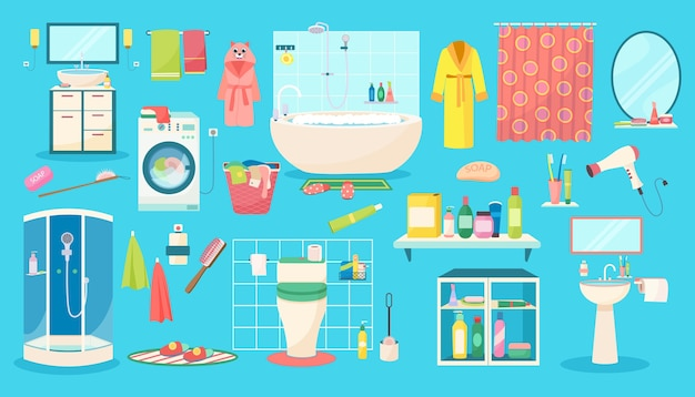 Ensemble d'illustrations d'accessoires de salle de bain