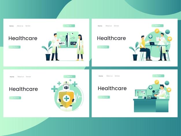 Ensemble d'illustrations d'activités de soins de santé avec un groupe de médecins
