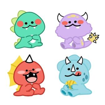 Ensemble d'illustrations adorables petits monstres doodle