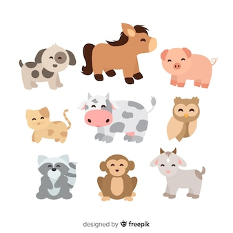 Ensemble d'illustrations d'animaux mignons