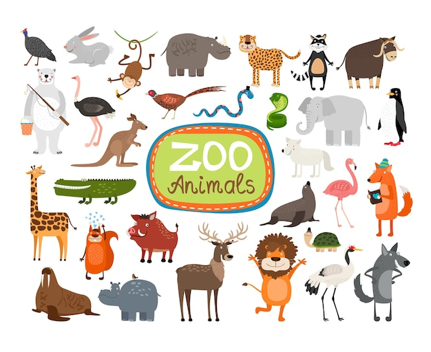 Ensemble d'illustrations d'animaux de zoo