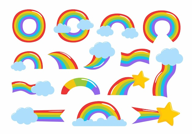 Ensemble d'illustrations arc-en-ciel dessinés à la main