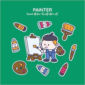 Ensemble d'illustrations autocollant artiste ou peintre kawaii