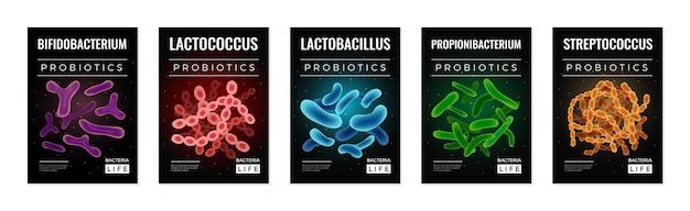 Ensemble d'illustrations de bactéries