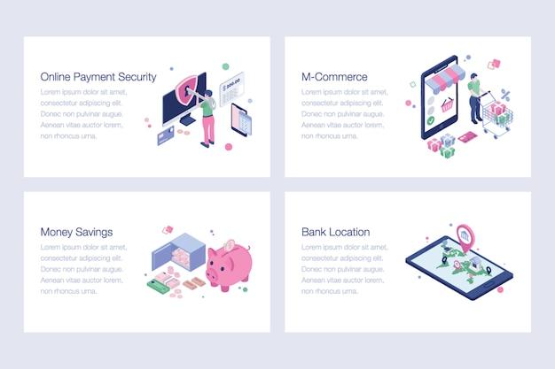 Ensemble d'illustrations bancaires par internet