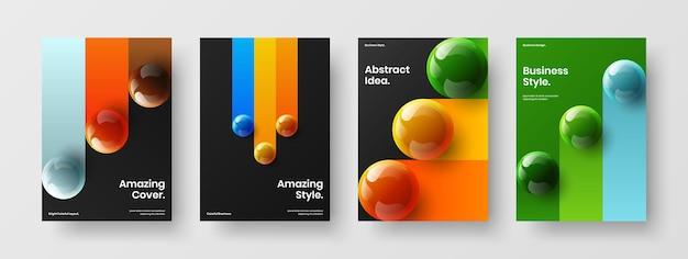 Ensemble d'illustrations de bannière d'orbes 3d lumineux