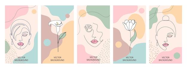 Ensemble d'illustrations de beauté et de mode pour l'impression. femme avec des fleurs et des formes abstraites