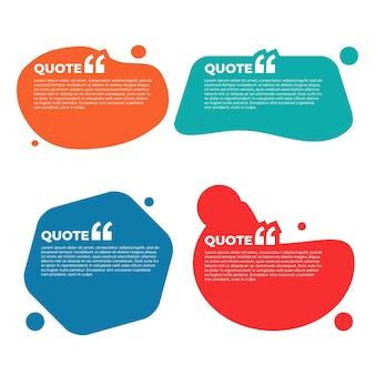 Ensemble d'illustrations de boîte de citation colorée
