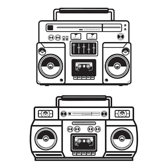 Ensemble d'illustrations de boombox sur fond blanc. .