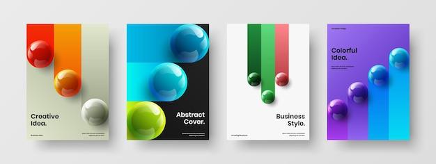 Ensemble d'illustrations de brochure d'entreprise orbes réalistes isolés