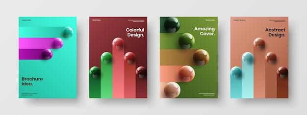 Ensemble d'illustrations de brochures d'orbes réalistes colorés