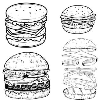 Ensemble d'illustrations de burger. éléments pour affiche, menu, étiquette, badge, signe. illustration