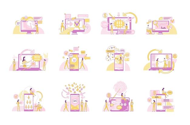 Ensemble d'illustrations de concept de ligne mince de marketing numérique