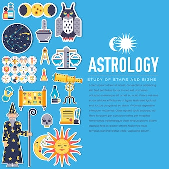 Ensemble d'illustrations de conception d'icônes de maison d'astrologie