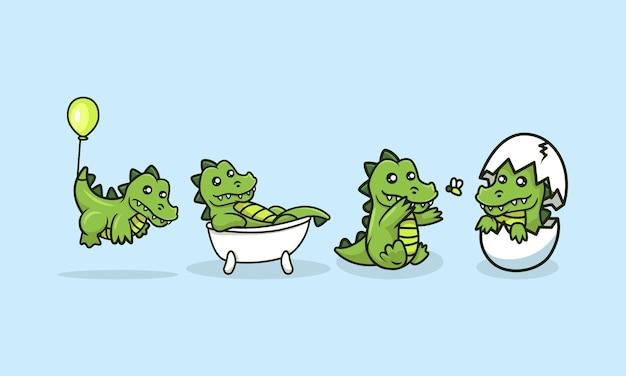 Ensemble D'illustrations De Conception Mascotte Bébé Crocodile Mignon Vecteur Premium