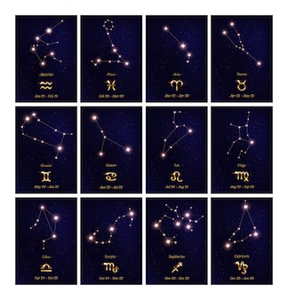 Ensemble d'illustrations de la constellation du zodiaque