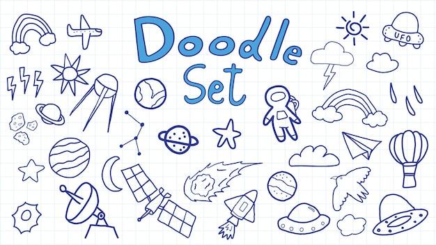 Ensemble d'illustrations de cosmos space doodle dessinés à la main