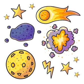 Ensemble d'illustrations couleur dessinées à la main de l'espace