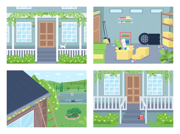 Ensemble D'illustrations Couleur Plat à L'extérieur De La Maison Vecteur Premium