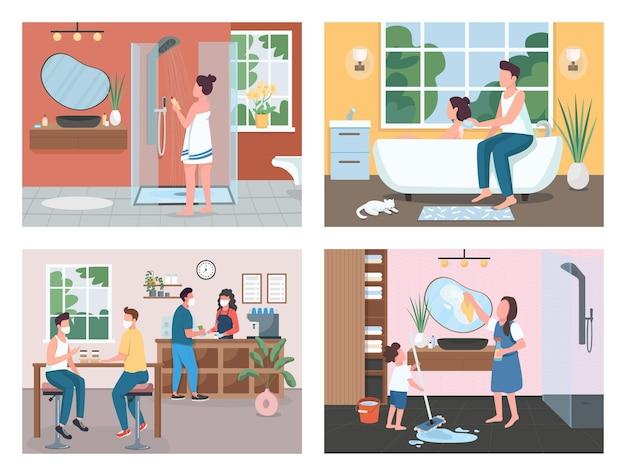 Ensemble d'illustrations de couleur plate routine quotidienne
