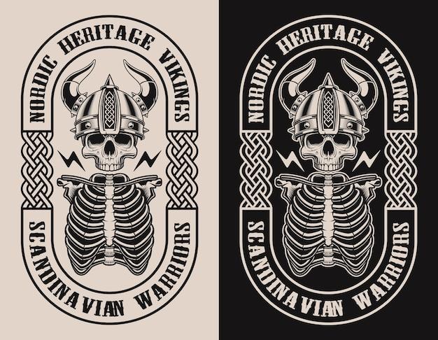 Ensemble d'illustrations avec un crâne de viking sur un fond noir et blanc.