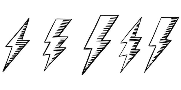 Ensemble d'illustrations de croquis de symbole d'éclair électrique doodle vecteur dessinés à la main. illustration vectorielle