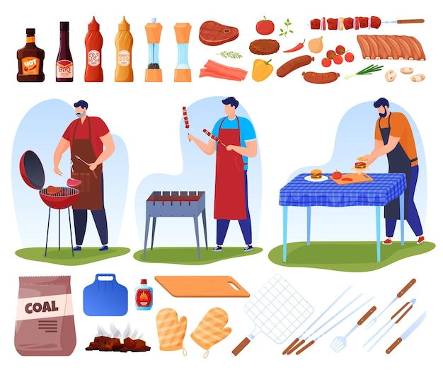 Ensemble d'illustrations de la cuisson au barbecue et au grill