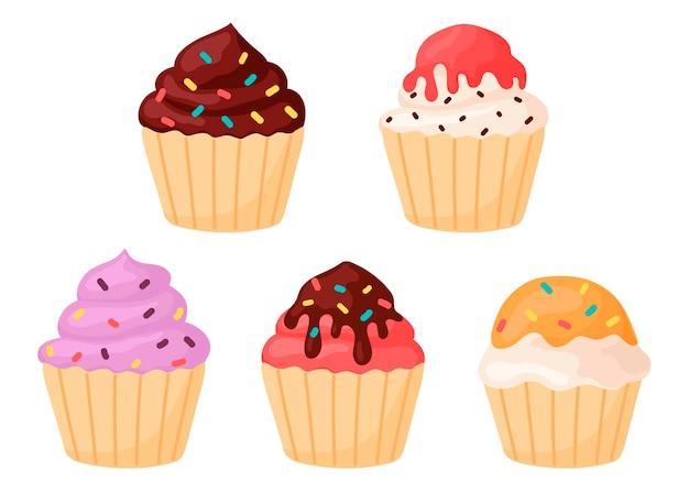 Ensemble d'illustrations de cupcakes de desserts en style cartoon