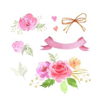 Ensemble d'illustrations décoratives de bouquets de fleurs roses et bannière pour texte aquarelle de vecteur