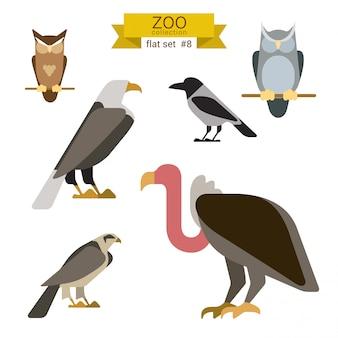 Ensemble d'illustrations design plat animaux dessin animé.