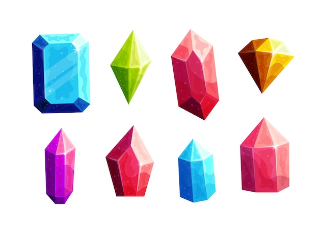 Ensemble d'illustrations de dessin animé de cristaux multicolores étincelants.