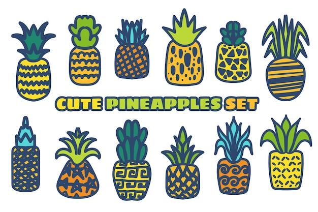 Ensemble d'illustrations dessinées à la main de vecteur d'ananas. collection de fruits tropicaux isolée sur blanc