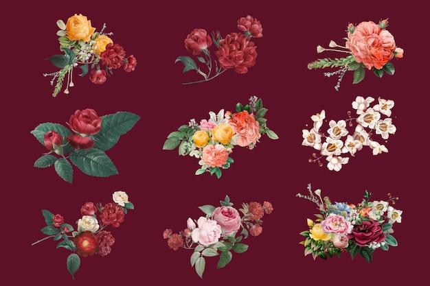 Ensemble d'illustrations dessinées à la main de vecteur de roses de printemps colorées vintage