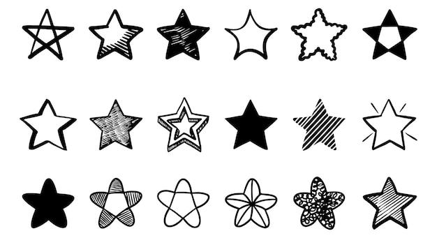 Ensemble d'illustrations de dessins animés d'étoiles de griffonnage isolées pour l'arrière-plan, les affiches, l'impression, les bannières, le web et la conception de concept. illustration vectorielle.