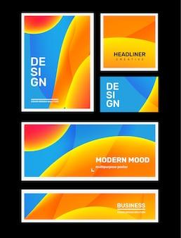 Ensemble d'illustrations différentes abstraites créatives bleues et jaunes dans le cadre