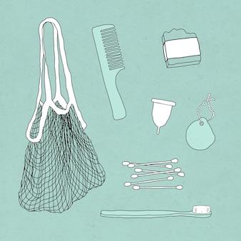 Ensemble d'illustrations de doodle de produits respectueux de l'environnement