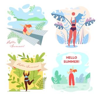 Ensemble d'illustrations avec écrit bonjour l'été.