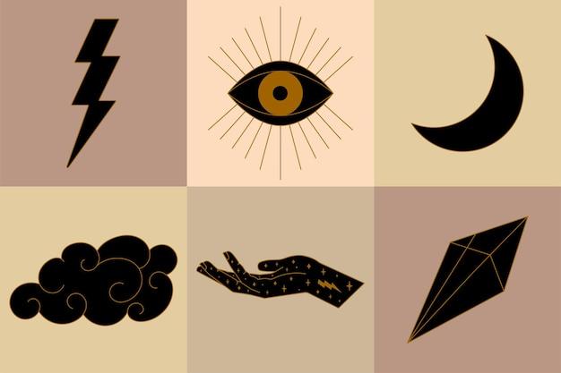 Ensemble d'illustrations d'éléments célestes mystiques comportant une boule de cristal de soleil de crâne et un vecteur de main